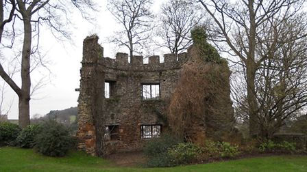 A bastion tower at Dunster Castle, pulled down in 1650 after the Civil War
