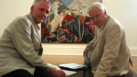 Ian Collins and Sir David Attenborough in front of John Craxton's Pastoral for PW in Tate Britain