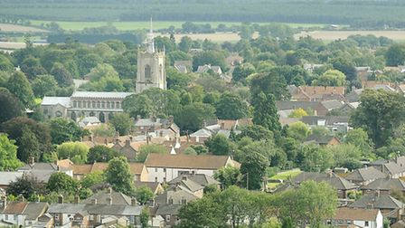 A view of Swaffham, including the church of St Peter & St Paul, from the top of the wind turbine.; P