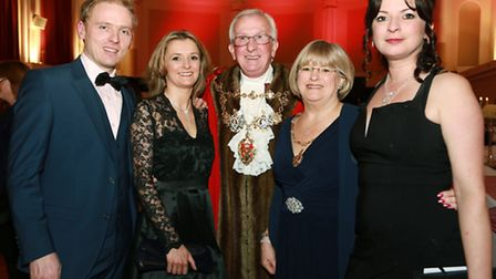 The Mayor and Mayoress of Chorley, Coun. Roy Lees and wife, Margaret, with their daughters, Susan El