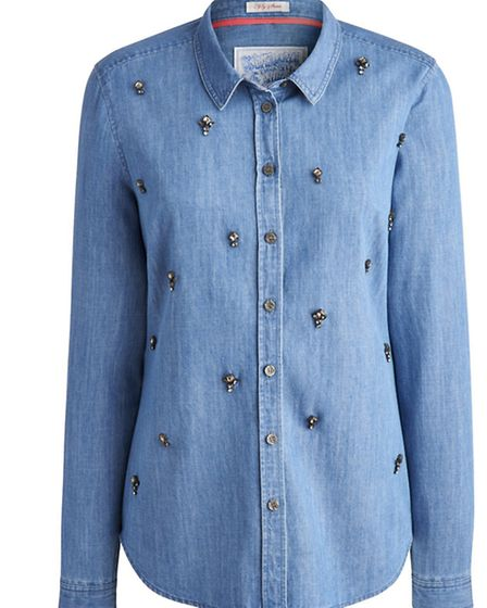 Clarice embellished denim shirt by Joulesm, £64.95. Available at Goulds, Dorchester; Shirley Allum,