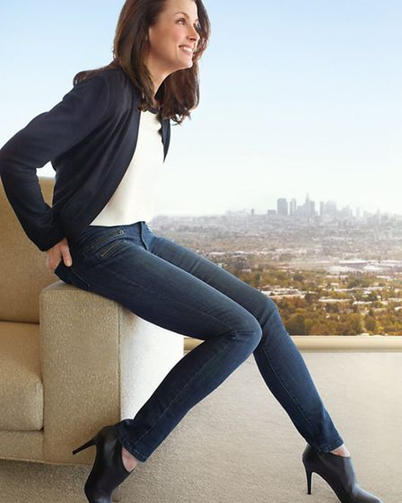Slimming jeans by NYPDJ with lift tuck technology and criss-cross panel design to make you look and