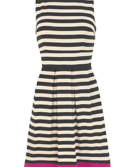 Stripe fit and flare dress by Joseph Ribkoff, £245. From a selection at Shirley Allum, Shaftesbury,