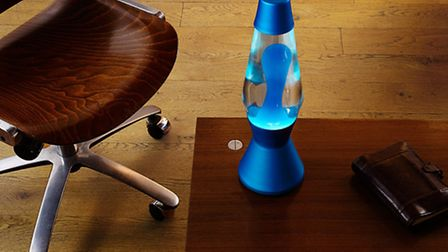 Mathmos electric blue lava lamp in clear blue from the heritage range.