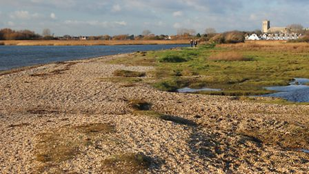 The 'beach' at the far end of Stanpit Marsh