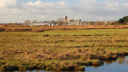 Stanpit Marsh and in the distance Christchurch Priory