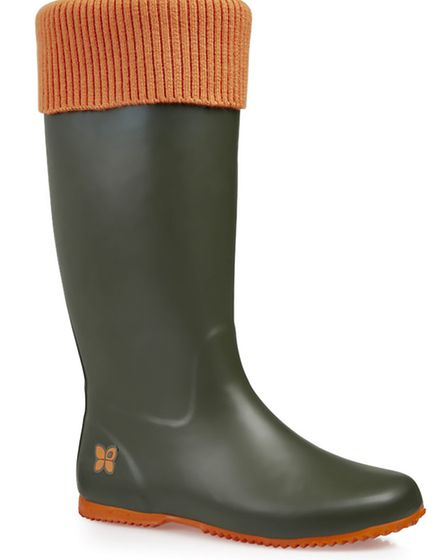 Windsor wellie in army green/orange, £55, Butterfly Twists, from a selection at Office, Bournemouth,