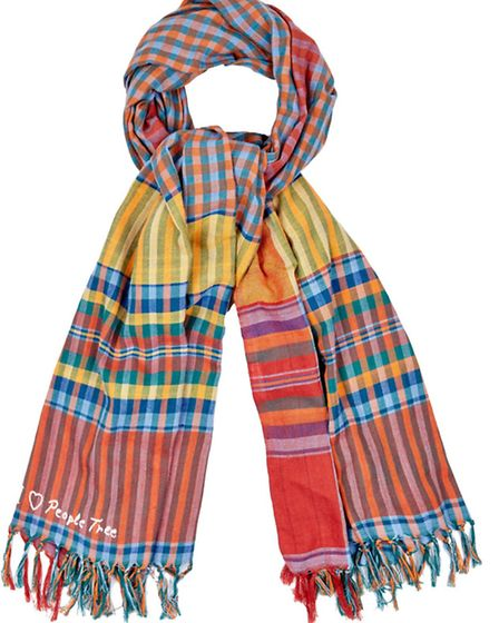 Checked sarong adds colour and warmth, £20, Peopletree, from a selection at Kimmeridge, Christchurch