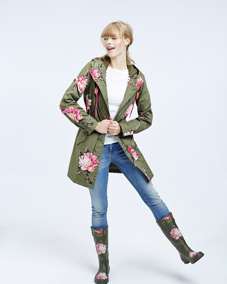 Blooming marvellous waterproof mac, £129, with matching wellies, £39.95, Joules, from a selection at