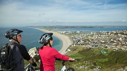 The view from Portland over Chesil Beach