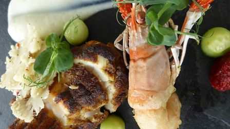 One of Tony's signature dishes: Curried monkfish loin with truffle marinated cauliflower and tempura