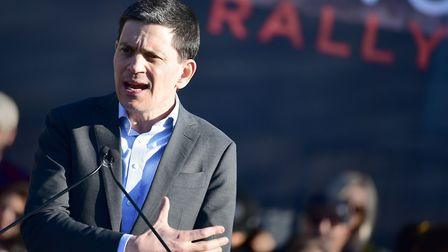 David Miliband speaking at a United Voices Rally. Photograph: Ian West/PA.