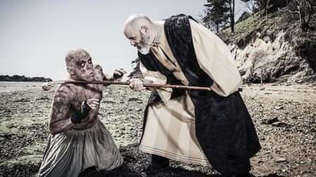 Prospero confronts Caliban in The Tempest on Brownsea Island