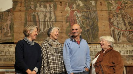 A group of artists are exhibiting in Wenhaston Church in the summer. L-R Ruth McCabe, Arabella Mar