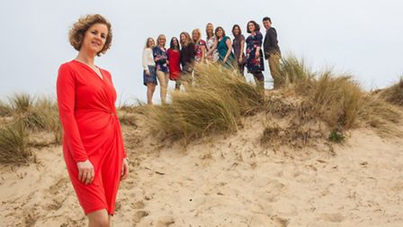 Liz Willingham and her team from Liz Lean PR on the beach