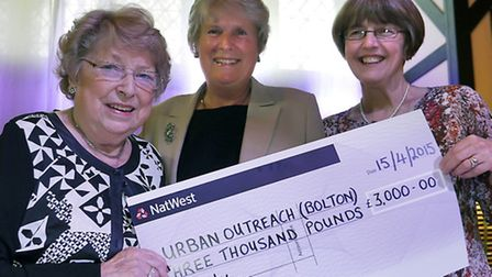 Irene Roocroft, Pam Marshall (office manager of Urban Outreach) and Urban Outreach founder Chris Bag