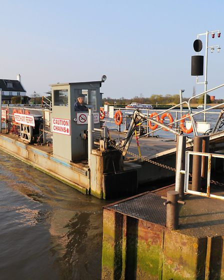 Reedham Ferry crossing the River Yare.
