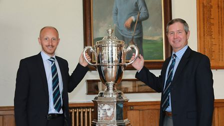 Charles Grimley and Dr Steven Reid with the Walker Cup at Royal Lytham Golf Club