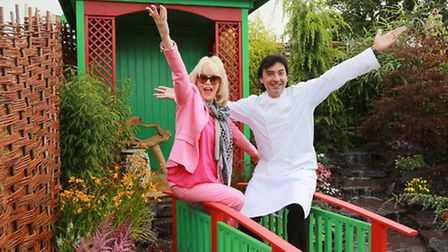 Actress, Sherrie Hewson, and celebrity chef, Jean-Christophe Novelli, in the best small garden Chal
