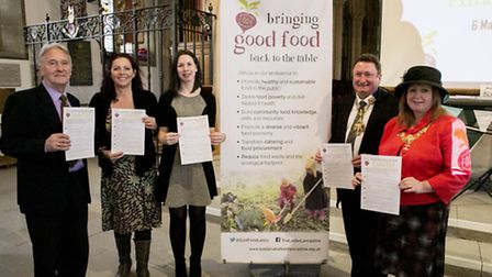 Launch of Sustainable Food Lancashire Charter: Dr Charlie Clutterbuck, Kay Johnson, Dr Kathleen Moon