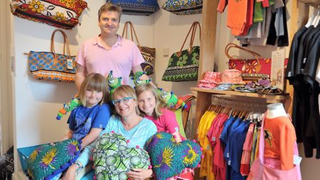 Spunyarns, in Southwold. Jonathan Sutton and Jane Miller with their children Abi (blue) and Ella (pi