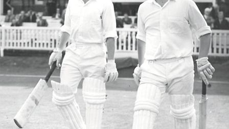 A proud Peter with fellow opening bat Roy Virgin as they walk to the middle at Lords