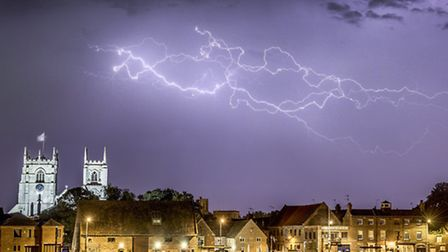 Lightning over King's Lynn, one of the photographs by Matthew Usher in his new exhibition