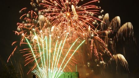 The Big Boom as fireworks light up the sky above Norwich Castle. Picture: Denise Bradley