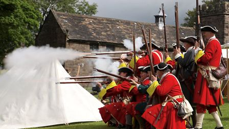 This is a shot of government forces re-enacting the Battle of Preston at Hoghton Tower. Picture cour