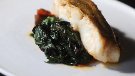 Crown and Castle in Orford. Food review for Suffolk Magazine. Cod with aubergine, caponata and rainb