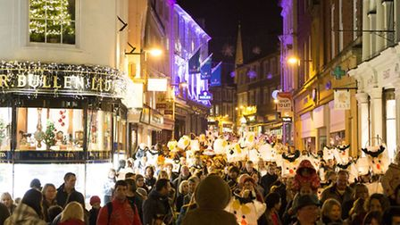 The lantern parade in Norwich at the big Christmas light switch on