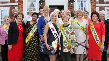 Kirsty Hornby (Face of Merseyside 2015) with members of St Helens Soroptimist International