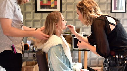 Getting ready for the shoot - The Cottage salon's Greg Churchill and Emily Hobbs prepare model Ieva