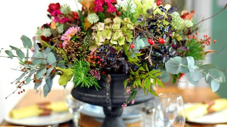 Christmas floral arrangement by Jo Thomas of Constance Rose