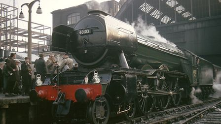An A3 class 4-6-2 locomotive number 60103 Flying Scotsman at King's Cross station, 1963 just before