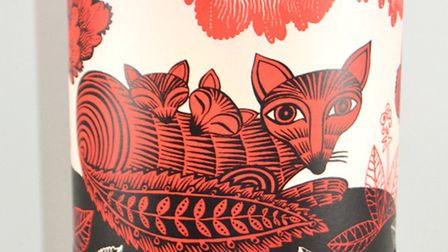 Vibrant hand silk screen printed lampshade from Lush Designs, featuring a fox and cubs in a flowery