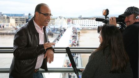 Theo Paphitis being filmed on the Grand Pier on the first day of the opening of the new Pier in Oct