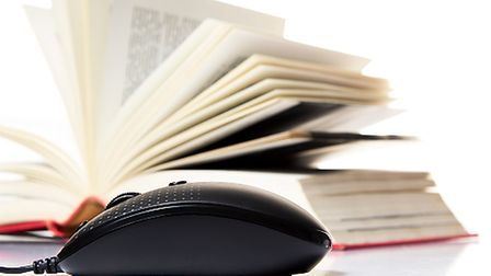 Stack books and mouse