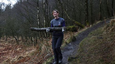 Marian Jones working on a woodfuel project (Picture Jamie Green)