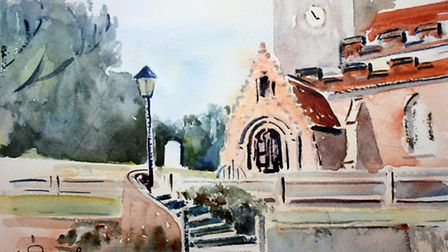 """""""Steps to the Church"""", wonderfully crafted steps were complemented by the lamp"""