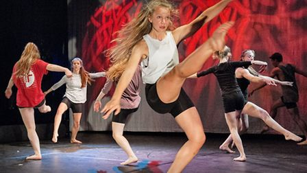 Young dancers from the DanceEast Centre for Advanced Training programme performing at the High Sheri