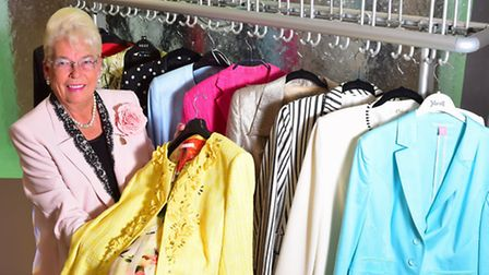 Judy Potter with just a few jackets from her huge collection