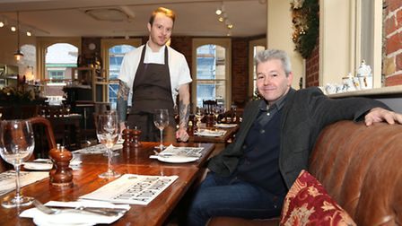 Liam Rutherford (Head Chef) and Lee Hollinworth in the Kitchen restaurant at The Clarence