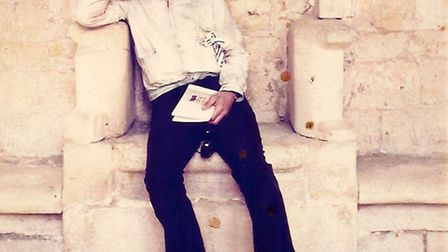 David Litvinoff pictured at Cadouin Abbey in France, 1973, taken by Nigel Waymouth