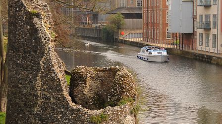 Looking towards Carrow Bridge, by the old city wall and tower