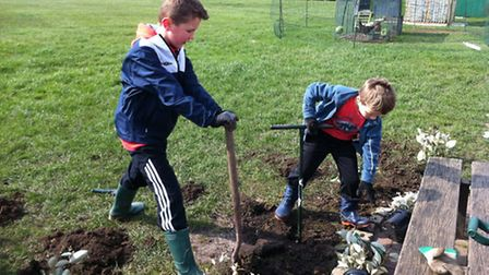 Pupils digging to plant new additions to their garden