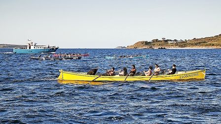 gig race into St Mary's, Isles of Scilly. May 2012.