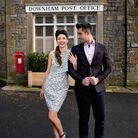 Grace wears French Connection Mineral Green Multi Dress, £125, from Seasons. Zach wears Sand Chec