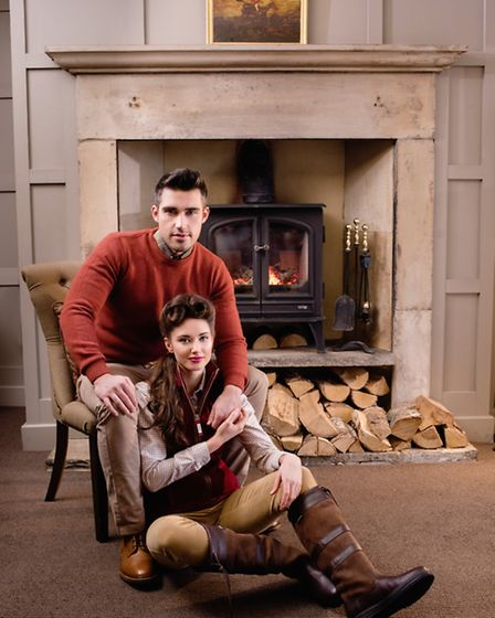 A Barbour Crew Neck Nelson Burnt Orange Essential Sweater, £69.95, worn by Zach, with Barbour Glen S