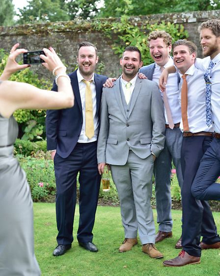 Pictured at Neil and Lauren Thomson's wedding are (from left) Fiona McDonald, Neil Edwards, Neil Tho